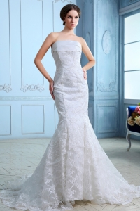 Mermaid Strapless Court Train Satin Lace Wedding Dress