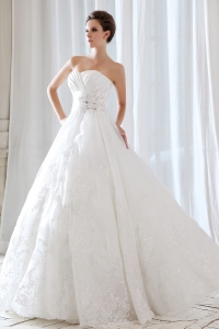 Princess Sweetheart Lace Beading and Ruch Wedding Dress