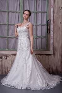 Luxurious Straps Court Train Taffeta and Lace Beading Bridal Gown
