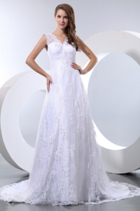 Luxurious V-neck A-line Court Train Taffeta and Lace Bridal Gown