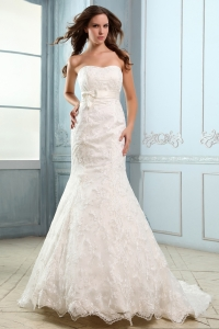 Mermaid Strapless Court Train Satin Lace and Belt Bridal Gown