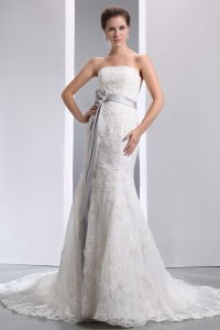 Mermaid Strapless Court Train Taffeta Lace Sash Wedding Dress