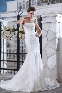 Mermaid Strapless Court Train Tulle Lace and Belt Bridal Gown