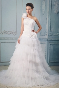 One Shoulder Wedding Dress With Ruffled Layered Hand Made Flowers