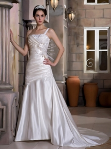 One Shoulder Court Train Taffeta Appliques and Ruch Wedding Dress