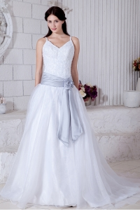 Modest Straps A-line Court Train Organza Sashes Wedding Dress