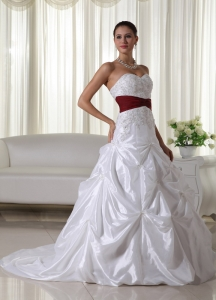 A-line Sweetheart Court Train Taffeta Wedding Dress