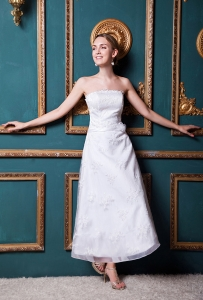 Column Ankle-length Organza and Taffeta Appliques Bridal Gown