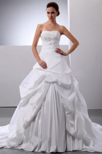 New Arrival Princess Appliques and Pick-ups Wedding Bridal Gown