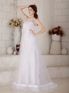 High-neck Court Train Organza Beading Wedding Dress
