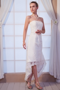 Unique High-low Column Strapless Satin Lace Wedding Dress for 2013