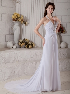 Popular V-neck Column Brush Train Chiffon Beading Bridal Gown