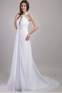 Halter Chapel Train Chiffon Appliques Wedding Dress