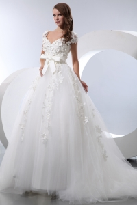 V-neck Taffeta and Tulle Hnad Made Flowers Wedding Dress with Bow