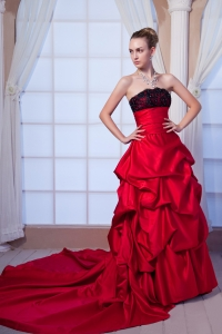 Red A-line Strapless Taffeta Beading and Lace Wedding Dress