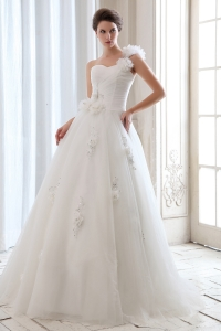 One Shoulder Tulle Beading and Hand Made Flowers Wedding Dress