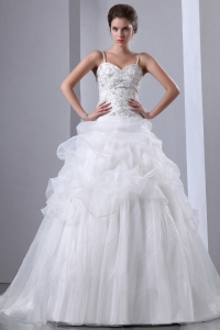 Spaghetti Straps Taffeta and Organza Embroidery Beading Bridal Gown