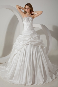 Ball Gown Strapless Court Train Beading Wedding Dress