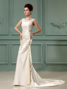 Elegant Champagne Scoop Column Taffeta Court Train Bridal Gown