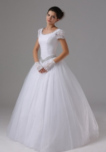Scoop 2013 Wedding Dress with Short Sleeves Ball Gown Lace
