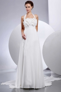 Halter 2013 Wedding Dress With Hand Made Flowers and Appliques