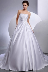 Ball Gown Hand Made Flowers Chapel Train Wedding Bridal Gown
