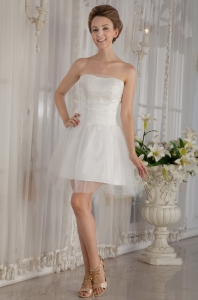 Strapless Mini-length Organza Beading Wedding Dress
