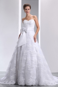 Custom Made Bridal Gown with Bow Sweetheart Lace Overlay
