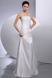 Taffeta Column Strapless Beaded Floor-length Wedding Gown