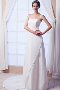 Column / Sheath Strapless Court Train Chiffon Sequins Wedding Dress