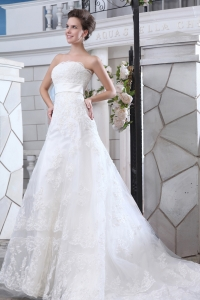 Unique Lace Belt Wedding Dress A-line Strapless Court Train