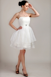 Strapless Mini-length Organza Beading and Ruch Short Wedding Dress