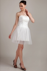 Mini-length Strapless Organza Beading and Ruch Wedding Dress