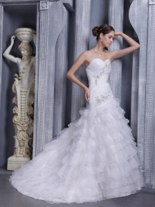 Sweetheart Organza Appliques Wedding Dress with Ruffled Layers