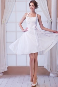 White A-line Halter Knee-length Chiffon Ruch Wedding Bridal Gown