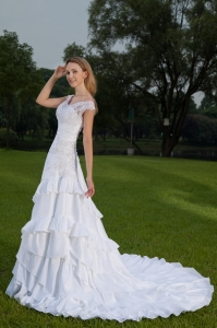 Off The Shoulder Court Train Taffeta Lace and Ruch Wedding Dress