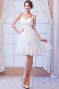 A-line Sweetheart Mini-length Organza Appliques Wedding Dress