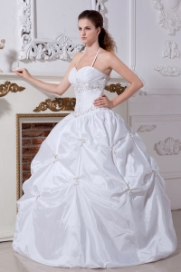 Halter Ball Gown Pick Ups Taffeta Embroidery Wedding Gown