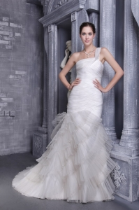 White Mermaid One Shoulder Court Train Organza Ruch Wedding Dress
