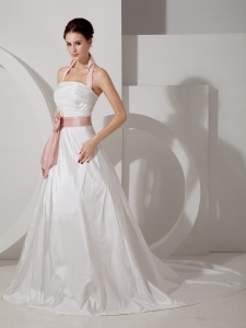 Halter Court Train Wedding Dress Taffeta Sash Ruch