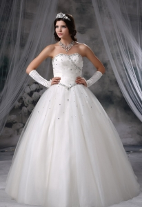 Beaded Decorate Bodice Ball Gown Wedding Dress For 2013 Tulle Floor-length