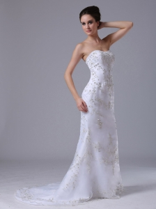 Beaded Sweetheart Column Brush Wedding Dress Strapless