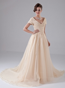 Short Sleeves Champagne Church Wedding Dress Beading