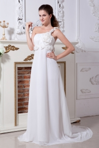 One Shoulder Wedding Dress Chiffon Hand Made Flowers