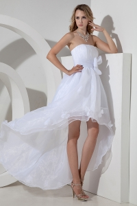 Princess High-low Wedding Dress Strapless Organza Bow