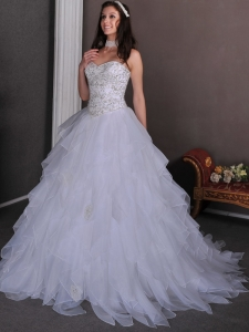Beading Ruffles Wedding Dress A-line Chapel Organza