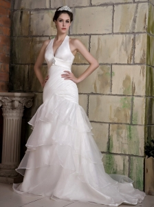 Mermaid Halter Wedding Dress for Bridals Court Beading