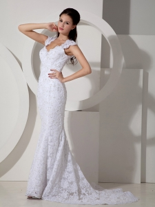 Mermaid V-neck Brush Train Lace Beading Wedding Dress