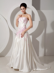Appliques Wedding Dress A-line Strapless Court Satin