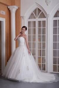 Strapless Court Appliques Wedding Gown Taffeta Organza